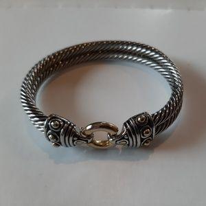 Designer Inspired Clasp Silver Gold Tone Bracelet